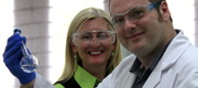 Larissa Bright, Company Director of Larissa Bright Australia, and Dr Mark York in the lab with a flask of UV filters.