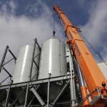 The two newly installed silos for PCR glass fragments at Gerresheimer in Tettau (Germany)