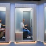 Unlike typical skin scans that require facial contact, you can analyze your skin comfortably and remotely while sitting in one of these booths in the SK-II Future X Smart Store. (Photo: ©The Procter & Gamble Company)