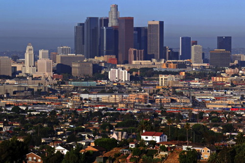 The skyline of downtown Los Angeles on a summer morning. Los Angeles,...