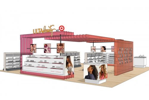 An early concept rendering of the distinctive Ulta Beauty at Target...