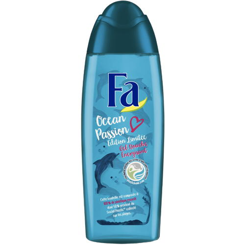 Bottles of the Fa Ocean Passion line are made from 100% recycled plastic,...
