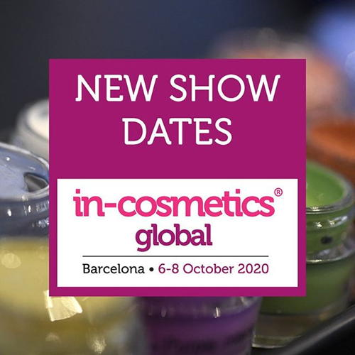in-cosmetics Global se tiendra du 6 au 8 octobre 2020 à Barcelone,...